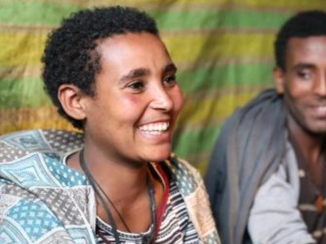 Alemtsehay's husband, Alemu, and his sisters help her with household chores during her pregnancy